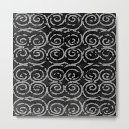 Frosty Black and White Pattern Metal Print