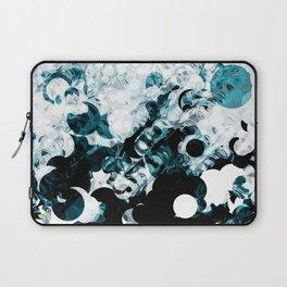Modern Splash of Turquoise Black White Design Laptop Sleeve