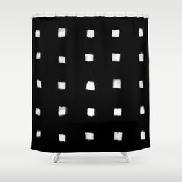 Polka Strokes Gapped - Off White on Black Shower Curtain