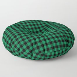 Winter green and black plaid christmas gifts minimal pattern plaids checked Floor Pillow