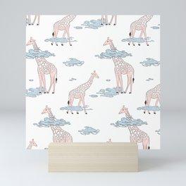 Giraffe in clouds Mini Art Print