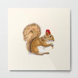 Fez Hat Squirrel Metal Print