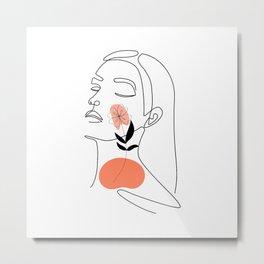 Woman floral cheek, minimal hand drawn illustration, one line style drawing, elegant line art style Metal Print