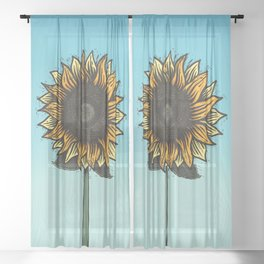 Here Comes The Sunflower Woodcut Sheer Curtain