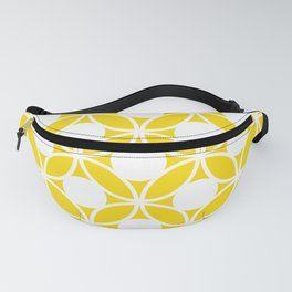 Geometric Floral Circles Summer Sun Shine White on Bright Yellow Fanny Pack