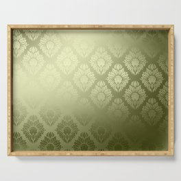 """Olive Damask Pattern"" Serving Tray"