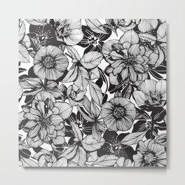 Hellebore lineart florals Metal Print