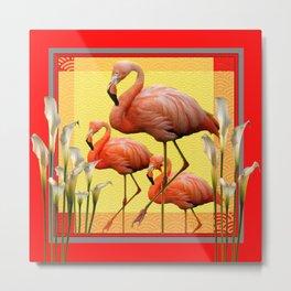 SURREAL FLAMINGOS CALLA LILIES RED ART Metal Print