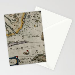 Map Of Sweden 1606 Stationery Cards