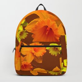 YELLOW SPRING DAFFODILS & COFFEE BROWN COLOR ART Backpack