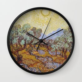 Vincent Van Gogh - Olive Trees with Yellow Sky and Sun Wall Clock
