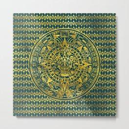 Gold  Aztec Inca Mayan Calendar Metal Print