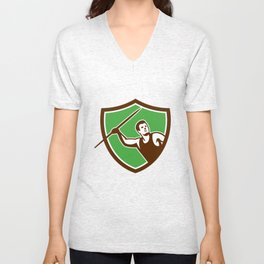 Javelin Throw Track and Field Athlete Shield Unisex V-Neck