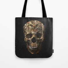Vintage American Tattoo Skull Wood Stripes Texture Tote Bag