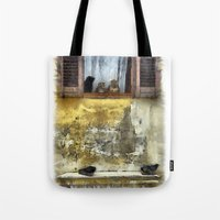 gossip girl Tote Bags featuring Cats Gossip by Nikolay Raikov