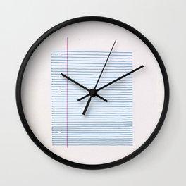 Line art: minimalist lined notebook paper Wall Clock