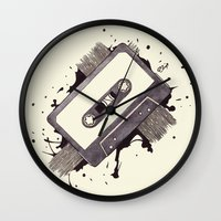 cassette Wall Clocks featuring Cassette by One Curious Chip