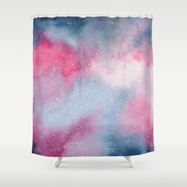 Pink and blue watercolour galaxy Shower Curtain