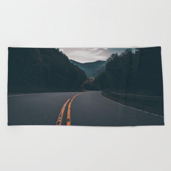 Road #Trees Beach Towel