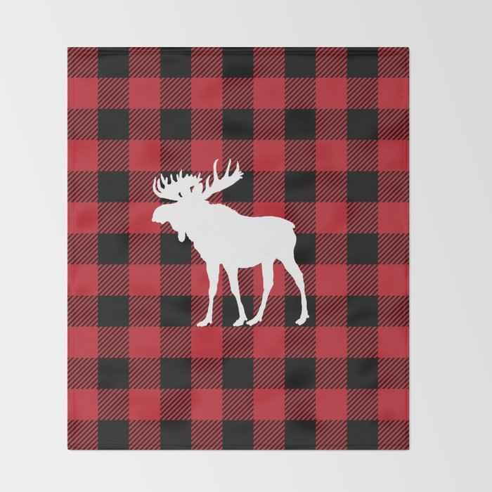 Red Buffalo Plaid Moose Throw Blanket by jsdavies