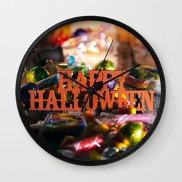 Halloween: Happy Halloween With Candy And Glowing Bulbs Wall Clock