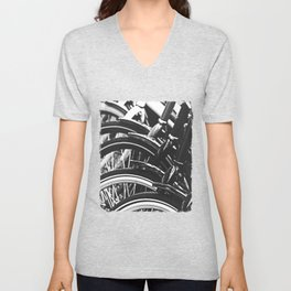 Bicycles, Bikes in Black and White Photography Unisex V-Neck
