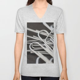 Pile of Silver Paper Clips Close Up Unisex V-Neck