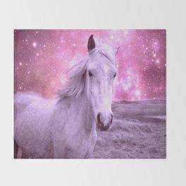 Pink Horse Celestial Dreams Throw Blanket