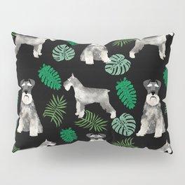 Schnauzer summer monstera tropical pure breed dog gifts Pillow Sham