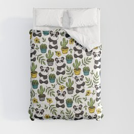 Panda Print, Succulents, Greenery and Cute Pandas, Flowers and Cactus Comforters