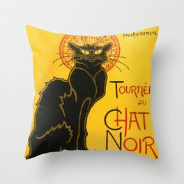 Le Chat Noir The Black Cat Art Nouveau Vintage Throw Pillow