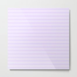Chalky Pale Lilac Pastel Wide Mattress Ticking Stripes Metal Print
