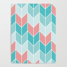 Mint Coral Chevrons Pattern Poster