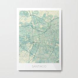 Santiago Map Blue Vintage Metal Print