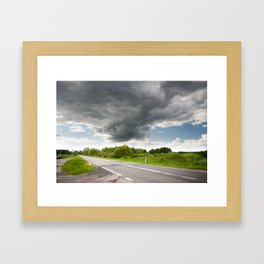 Biebrza road landscape Framed Art Print
