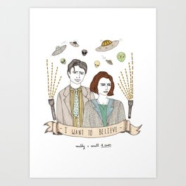 Mulder and Scully 4Ever Art Print