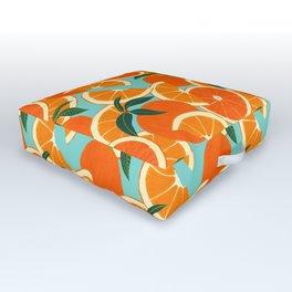 Orange Harvest - Blue Outdoor Floor Cushion