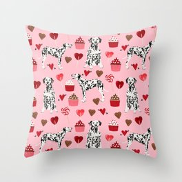 Dalmatian valentines day cupcakes and hearts love dog breeds dog lovers valentine Throw Pillow