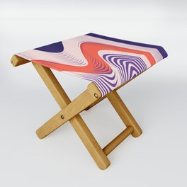 Pink Red Blue lines Folding Stool