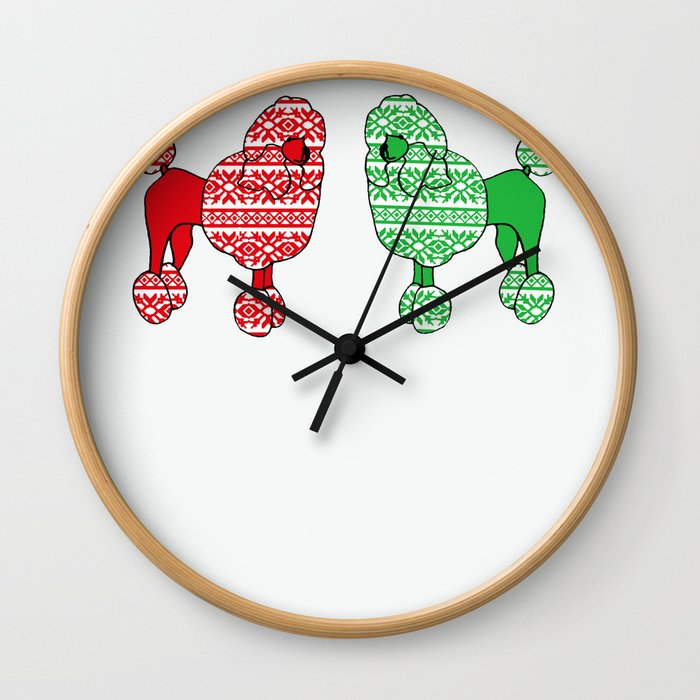 Christmas Poodles Wall Clock