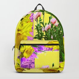 YELLOW DAFFODILS FLOWER GARDEN & PINK POPPIES DESIGN Backpack