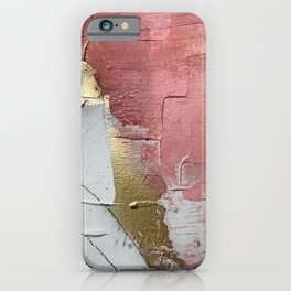 Darling: a minimal, abstract mixed-media piece in pink, white, and gold by Alyssa Hamilton Art iPhone Case