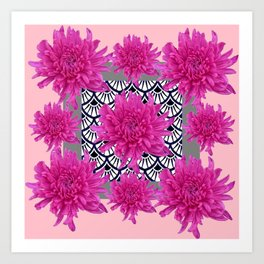 GREY ART DECO FUCHSIA CHRYSANTHEMUM FLORAL Art Print