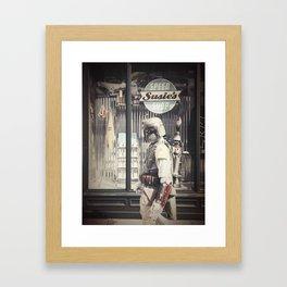 Boba Fett at Susie's Speed Shop Framed Art Print