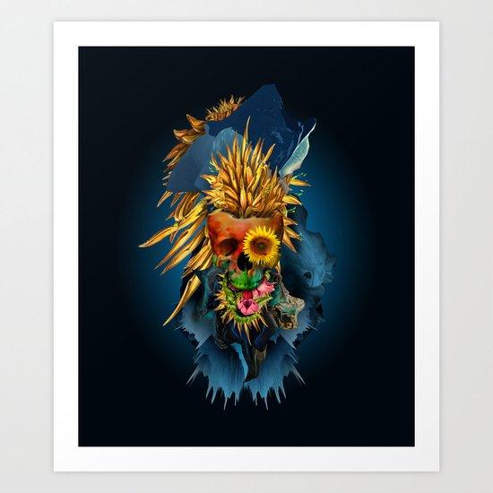 Floral Skull Vivid III Art Print