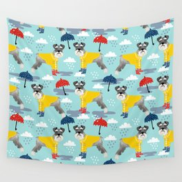 Schnauzer spring raincoat cute pattern for dog lover with schnauzers Wall Tapestry