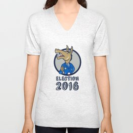 Election 2016 Democrat Donkey Mascot Circle Cartoon Unisex V-Neck