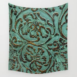Aqua Flowers Tooled Leather Wall Tapestry