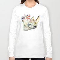 party Long Sleeve T-shirts featuring Rhino's Party by Brandon Keehner