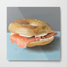 Bagel with Lox & Cream Cheese Metal Print